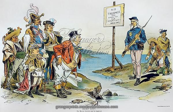 American cartoon by F. Victor Gillam, 1896, invoking the Monroe Doctrine against Great Britain and other European powers at the time of the Venezuelan Boundary dispute.